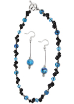 Aqua Jet Necklace and Earrings
